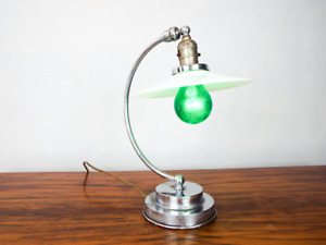 Vintage 1930s Art Deco Desk Lamp Machine Age Atomic Milk Glass Shade Chrome Body