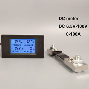 Dc Digital Voltage Current Meter Lcd 4 In 1 Dc 6 5 100v 50a100a With Shunt