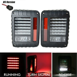 For 07 17 Jeep Wrangler Jk Led Tail Lights Rear Brake Reverse Signal Lamps Smoke
