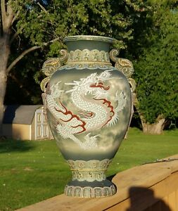 Exceptional Large Japanese Satsuma Moriage Dragonware Vase Emerging From Clouds
