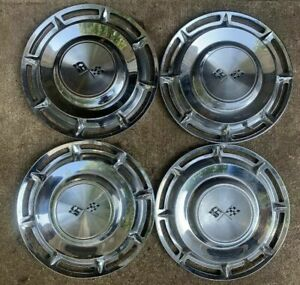 Set Of 4 Used 1960 Vintage Chevy Impala Corvette Chevrolet Hubcap 14 Flag