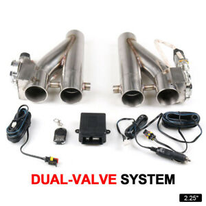 2 25 Inch 57mm Electric Exhaust Downpipe Cutout E cut Out Dual valve Remote Set