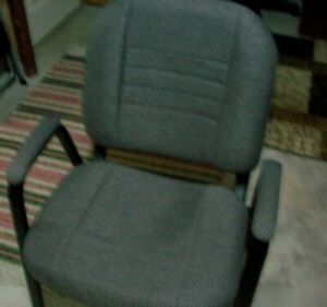 Lot Of 3 Fabric Stackable Office Church Arm Chairs Grey blue Exc Cond