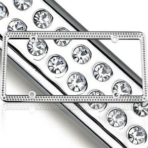 Swarovski Clear 2pcs Crystal Bling License Plate Frame Inlay With Screw Caps