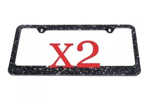 2 X Shining 7 Row Black Bling Diamond Crystal Heavy Metal License Plate Frame