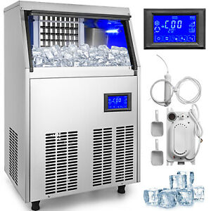 Ice Cube Maker Machine 40kg 88lbs Commercial Water Filter One Key Clean 22mmcube