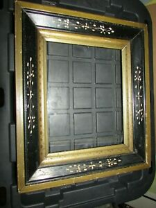 Antique 1880 S Victorian Black And Gold Picture Frame Original Glass