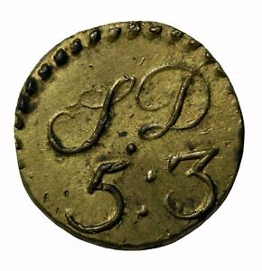 England 1700 S Brass Coin Weight For Quarter 1 4 Gold Guinea W 1683ja