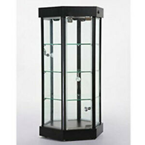 Lighted Hexagonal Countertop Display Case 18 5 W X 16 D X 35 H Inches