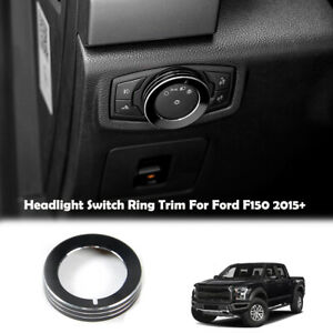 Headlight Lamp Switch Button Knob Decor Ring Cover Trim Black For Ford F150 15