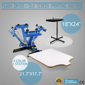 4 Color 1 Station Screen Printing Press Equipment Silk Screening W Flash Dryer