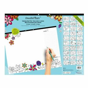 Blueline Doodleplan Coloring Desk Pad Garden Design 22 X 17 Inches a2917313p