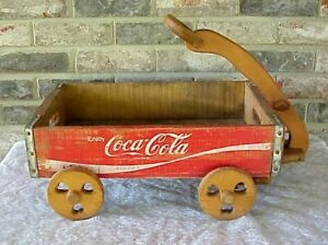 Vintage Coca Cola Crate Pull Wagon Wood Heart Cutout Wheels 83 Central States