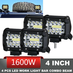 4pcs 1600w 4 Cree Led Work Lights Combo Offroad Driving Light Pod Spot Flood