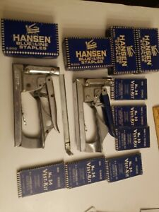Two Vintage Hanson Staplers 35 3 10 Boxes Of Vintage Staples