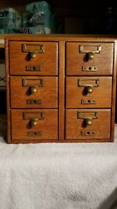 Antique Oak 6 Drawer Library Card Catalog Cabinet Dovetailed Construction
