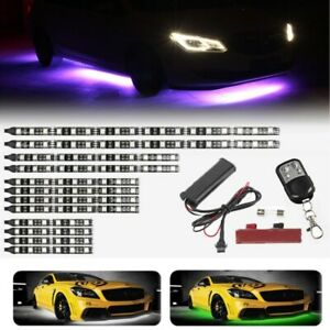 12pcs Waterproof Led Strip Light Under Car Tube Underbody System Neon Lights Kit