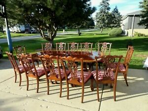 Ethan Allen 18th Century Mahogany Chippendale Style Dining Table W Chairs