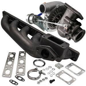 T3 T4 T04e V Band Turbocharger 63 A R Cast Iron Extractor Manifold For Bmw E36