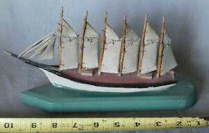 Small Wooden Ship Model Six Masted Wood Schooner Wyoming Hand Painted Carved