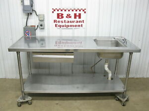 Advance Tabco 72 Stainless Steel Work Prep Table W 1 Bowl Compartment Sink 6