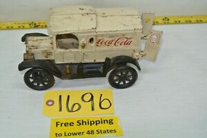 Antique Coca-Cola Toy Truck All Metal 1912 Ford Cream Color W/ Free Ship
