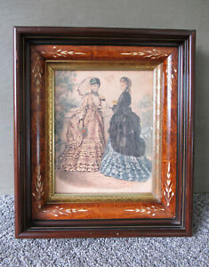 Antique Frame Victorian Style Shadow Box Wood Glass Front Gold Gilt Vtg Ladies