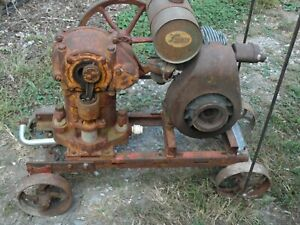 Vintage Lauson Gas Engine Farquhar Piston Pump Old Motor