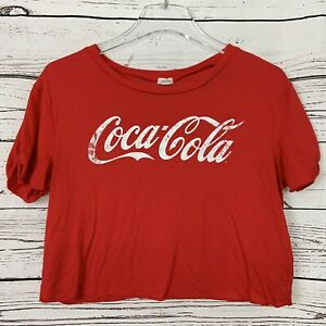 Coca Cola Coke Red Graphic Crop Top T Shirt Short Sleeve Women's size PS