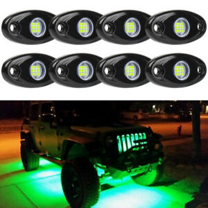 8x Green Led Rock Light Off road Underglow Foot Wheel Well Light Truck Boat Atv