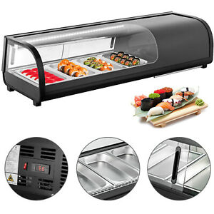 46 Refrigerated Sushi Display Case Tempered Glass 4 Plates 0 12