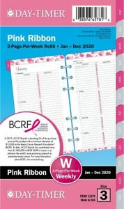 Pink Ribbon 2 page per week Planner Refill Portable Size Breast