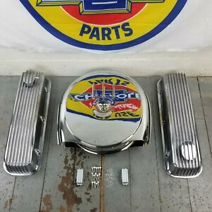Chevy Bbc Chrome Caddy Air Cleaner Engine Dress Up Kit Pcv Breathers 496 V8 454