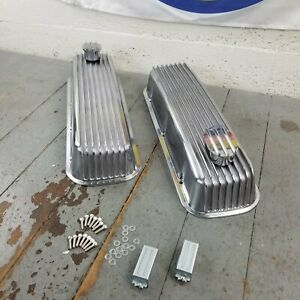 Chevy Bbc Tall Finned Chrome Valve Covers Kit Breathers Bb 454 496 502 Crate Ss