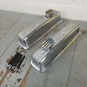 Sbc Center Bolt Finned Engine Valve Covers W Breathers Rwd Vortec Ls Lsx Chevy