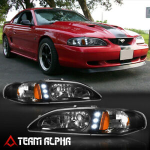Fits 1994 1998 Ford Mustang Led Drl Black Clear Amber Corner 1pc Headlight Lamp