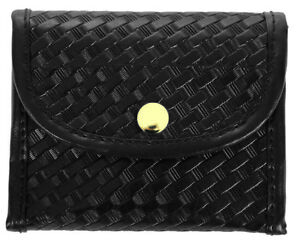 Basket Weave Synthetic Leather Glove Holder gold Snap