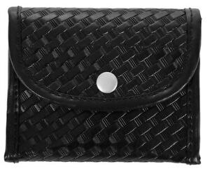 Basket Weave Synthetic Leather Glove Holder With Nickel Snap