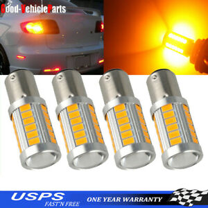 4x Amber 1157 Led Bulbs Bay15d 33smd Turn Tail Brake Stop Backup Signal Light