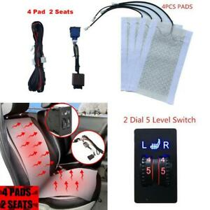 4pc Car Seat Heater Kit 12v Carbon Fiber Universal Heated Cushion Warmer 5 Level
