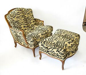 Century Furniture Custom Animal Print Covered Easy Chair With Ottoman