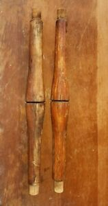 Vintage Turned Wood Spindle Columns Double Insert Top And Bottom 15
