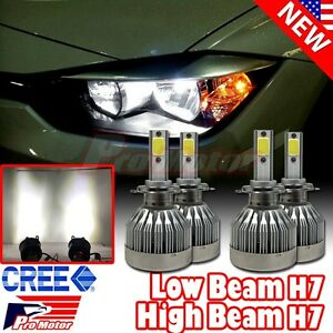 H7 Cree Led 6500k Power White 60w 6000 Lm Drl High Low Beam Headlight Bulbs