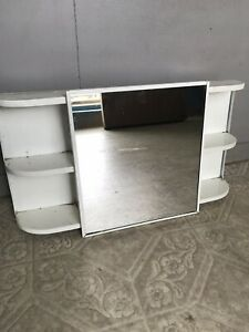 Antique Metal Bathroom Medicine Cabinet With Mirror 22 Inch With Shelves