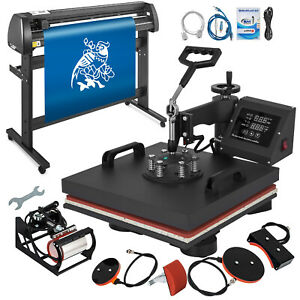 5in1 Heat Press 15 x15 Vinyl Cutter Plotter 53 Sublimation Digital Swing Away