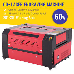 60w 28x20in 70x50cm Workbed Co2 Laser Engraver Cutter Marker With Ruida Panel