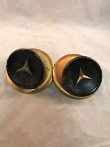 2 Vintage Copper Brass Drawer Pulls Knobs 3 Point Mercedes Starburst Art Deco