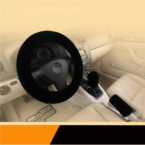 3pcs Universal Soft Wool Plush Fuzzy Car Steering Wheel Cover For Winter Black