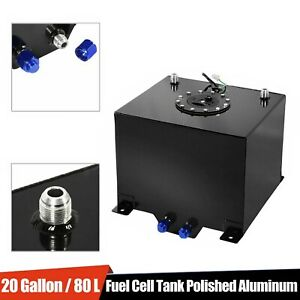 Aluminum Racing Fuel Cell 20 Gallon 8l With Sump Aircraft Cap Racerdirect Black