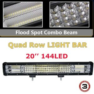 20inch 432w Cree Led Light Bar Flood Spot Work Driving Offroad 4wd Truck Atv Ute